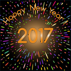 New year 2017 card. Fireworks. Colorful.