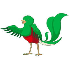 Cartoon smiling Quetzal
