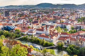 Aerial View Of City Center - Graz, Styria, Austria