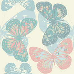Seamless pattern with cute butterfly