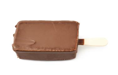 Vanilla ice cream bar on a stick