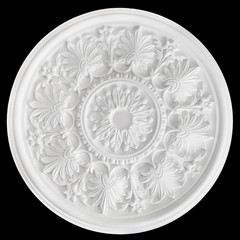 Ceiling Centres or plaster Ceiling Roses. isolated on black