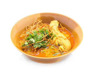 Egg Noodle in Chicken Curry . Kao Soi Kai.