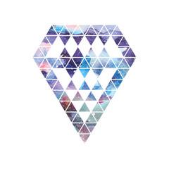 Diamond space design. Abstract watercolor ornament.
