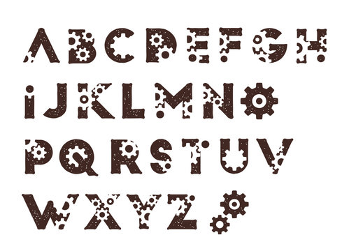 steampunk mechanic cog latin alphabets typedesign vector