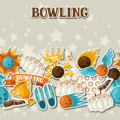 Seamless pattern with bowling items. Background made without clipping mask. Easy to use for backdrop, textile, wrapping paper