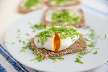 Vollkornbrot mit pochiertem Ei und Schnittlauch
