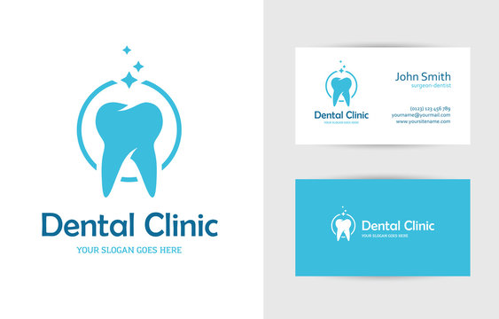 Dental clinic logo with tooth and business card design template