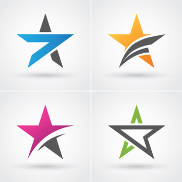 Four colorful star icons