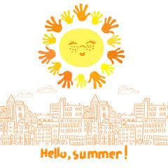 Hello summer vector illustration. Cute cartoon sun and doodle cityscape.