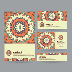 Set of ornamental business cards with flower mandala in orange, violet, beige, green colors. Vintage decorative elements. Indian, asian, arabic, islamic, ottoman motif. Vector illustration.