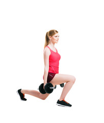 Fit woman in sportswear doing physical exercises