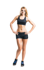 Sporty woman in sportswear  isolated on white
