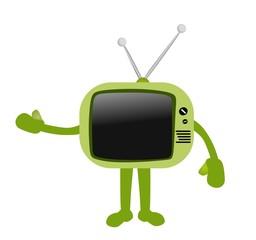 Cartoon retro green TV