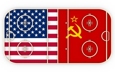 USA vs USSR. Ice hockey history competition