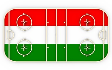 Ice hockey field textured by Hungary flag. Relative to world competition