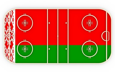 Ice hockey field textured by Belarus flag. Relative to world competition