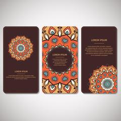 Set of ornamental cards, flyers with flower mandala in brown, orange, beige colors. Vintage decorative elements. Indian, asian, arabic, islamic, ottoman motif. Vector illustration.