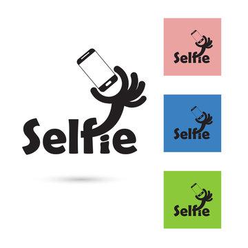 Selfie word logo elements design.Taking selfie portrait photo