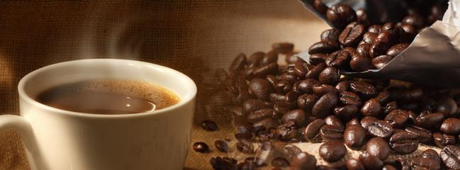 Coffee beans and coffee mug