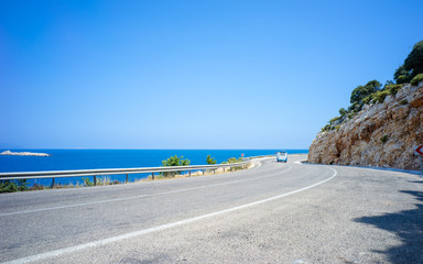 Route D400 and Aegean Sea in Summer