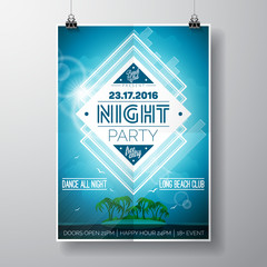 Vector Summer Beach Party Flyer Design with typographic elements and copy space on ocean landscape background.