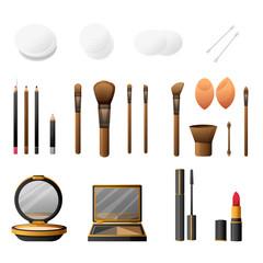 Makeup kit in cartoon flat style. Elegance cosmetics makeup and makeup accessories. Glamorous make up and accessories. Makeup powder and makeup brushes. Vector