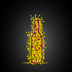 Bottle abstract sketch design background easy all editable