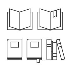 Book thin line icons. Book thin sign vector illustration