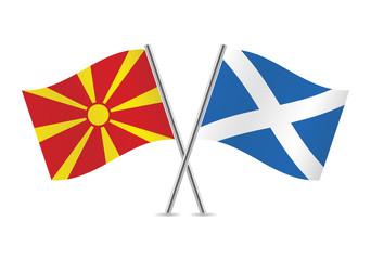 Macedonian and Scottish flags. Vector illustration.