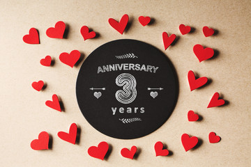 Anniversary 3 years message with small hearts