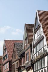 Historische Häuser in der Lange Straße in Wiedenbrück, Nordrhein-Westfalen