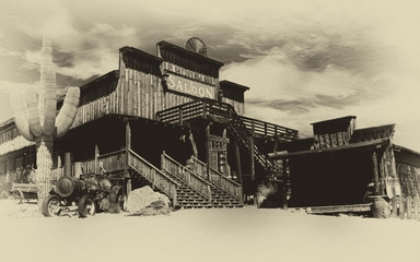Old Wild West Cowboy Town- Faded old sepia photograph of the old Wild West