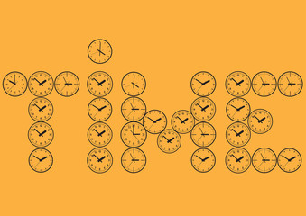 The word time, made up of watch dials. Vector illustration.