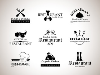 Restaurant Labels Set-Isolated On Gray Background-Vector Illustration,Graphic Design.Collection Of Restaurant, Bistro And Bar Icons