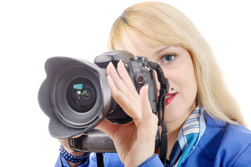 young woman with a camera on isolated on white background.