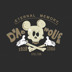 Mickey Mouse is a funny vintage drawing for a tattoo or print on a T-shirt or clothes: an animated skull of a mouse skeleton. On a black background, Mickey's head.