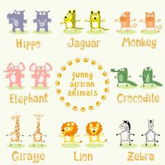 Set of funny african animals drawing in cartoon style: elephant, hippo, crocodile, jaguar, giraffe, zebra, lion, monkey. Vector illustration
