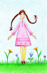 hand drawn picture of girl in pink dress standing on lawn by the color pencils
