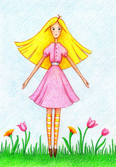 hand drawn picture of girl, standing on lawn by the color pencils