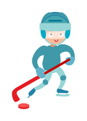Hockey player boy cute pretty tough confident smiling male winter sport character vector.