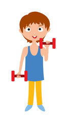 Young girl with dumbbells healthy workout gym sport training cartoon vector.
