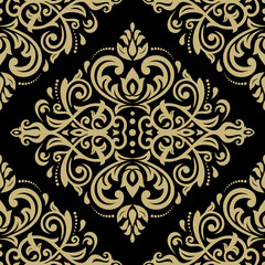 Seamless oriental golden ornament in the style of baroque. Traditional classic vector pattern