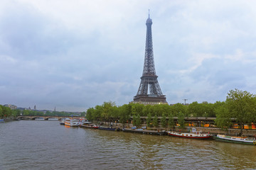 Eiffel Tower and Boats on Seine River in Paris