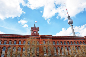 Red City Hall and Berlin TV Tower in Berlin