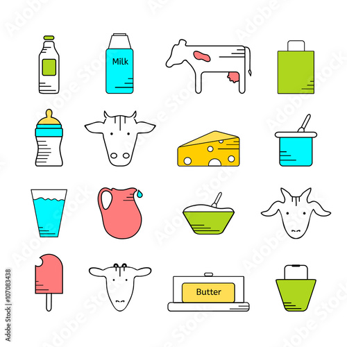 Dairy Icons Colored Set Line In Color On White Background Logo And Labels