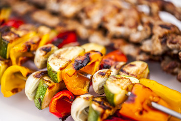 Kebab and grilled vegetable,selective focus.