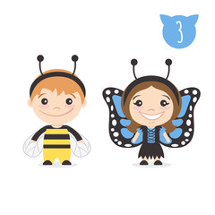 Kids characters in bee and butterfly costumes.