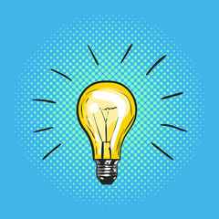 Vector illustration of pop art light bulb. Concept of new idea.