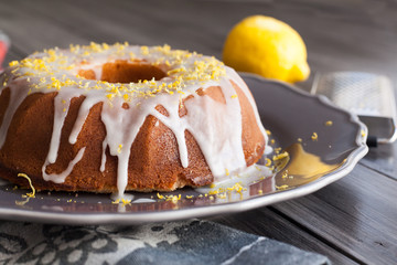 Homemade lemon cake with icing